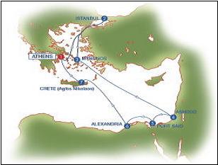 曜日 発着地 入港 出港 出港日  611トン) アテネからエーゲ海周遊とイスタンブール、エジプ